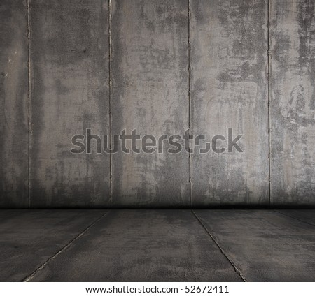old grunge metallic room - stock photo