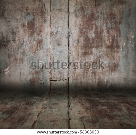 old grunge metallic room - stock photo