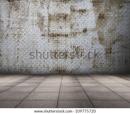 old grunge metallic room, abstract background