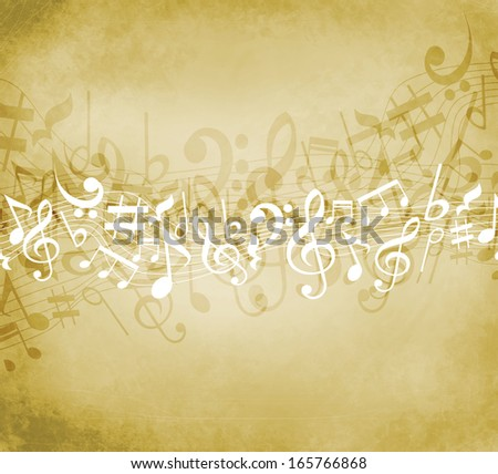 Old grunge music background with white notes - stock photo