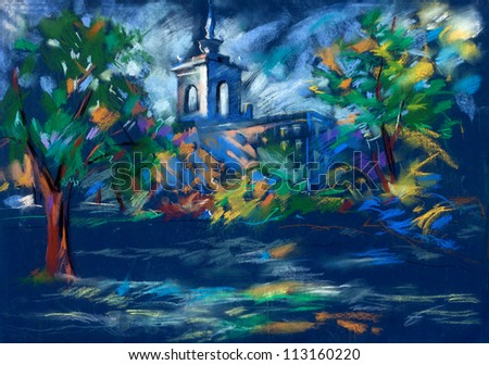 Old,grunge original pastel and  hand drawn, working  sketch of a church or chapel and trees at night