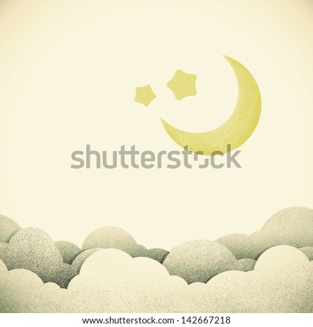 Old Grunge paper texture moon on vintage tone background - stock photo
