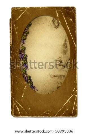 Old grunge paper with flowers isolated background