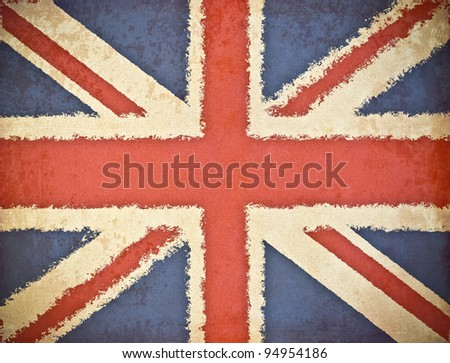 old grunge paper with UK flag background