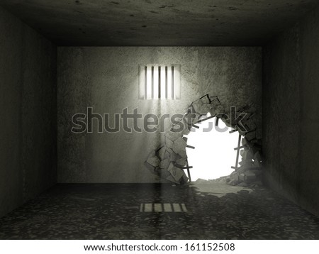 Old Grunge Prison Interior with Broken Concrete Wall - stock photo