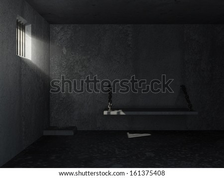 Old Grunge Prison Interior with sun rays breaking through a barred window - stock photo