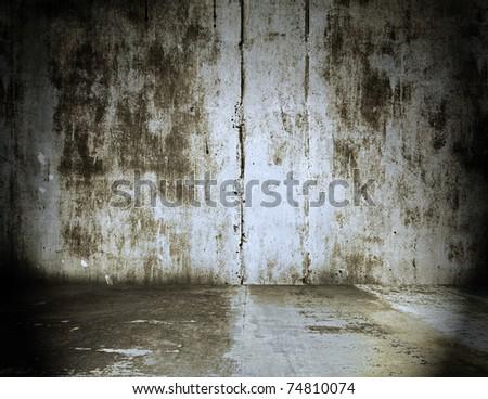 old grunge room, metallic background - stock photo
