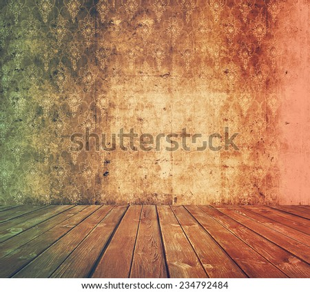 old grunge room, retro background, retro film filtered, instagram style  - stock photo