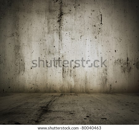 old grunge room with concrete wall, urban background - stock photo