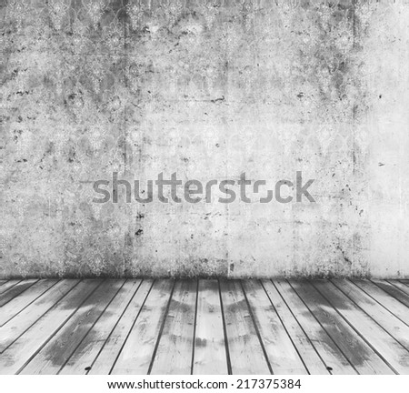 old grunge room with grey wallpaper
