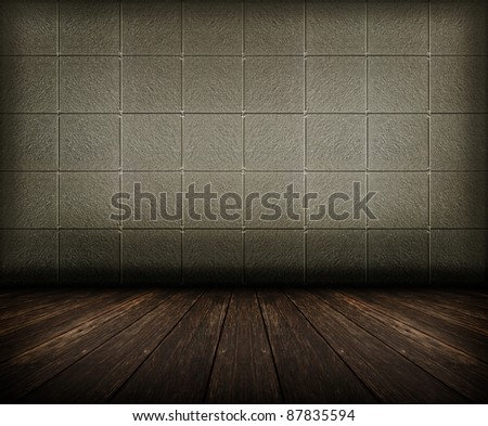 old grunge room with tiled wall and wooden floor, vintage background