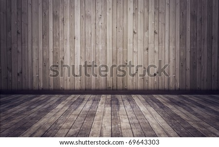 old grunge room with wooden planks floor and walls background - stock photo