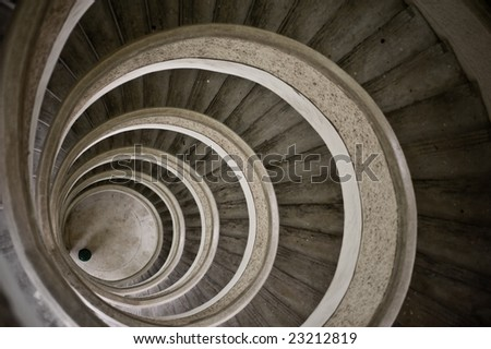 old grunge staircase inside chinese pagoda - stock photo
