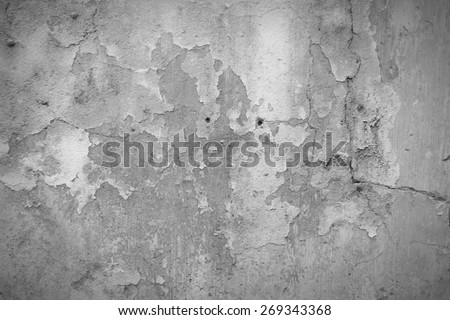 Old grunge wall texture. Grungy ruined architecture background. Black and white tone - retro monochrome BW color style. - stock photo