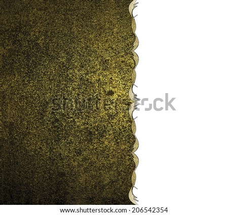 Old grunge wall with a yellow shade with gold trim on a white background. Design template. Design site - stock photo