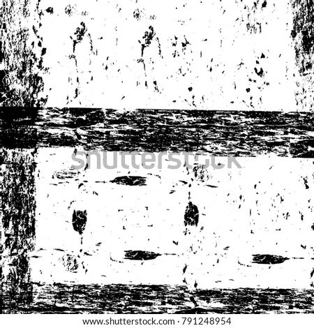 Old grunge weathered wall background. Black and white abstract texture. Background of cracks, scuffs, chips, stains, ink spots, lines. Dark design background surface. Gray printing element