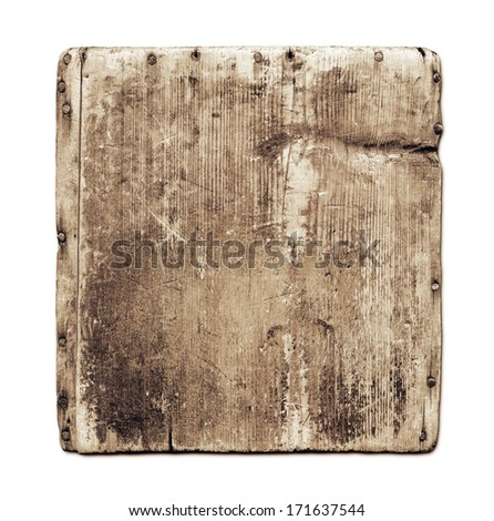 Old grunge wood board isolated on white with clipping path - stock photo