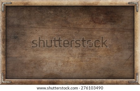 Old grunge wooden picture frame background - stock photo