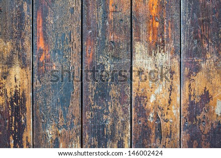 Old grunge wooden wall planks background - stock photo