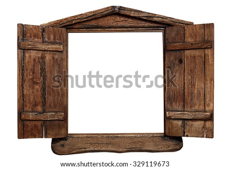 Exceptionnel Old Grunge Wooden Window Frame With Shutters Opened, Isolated On White.