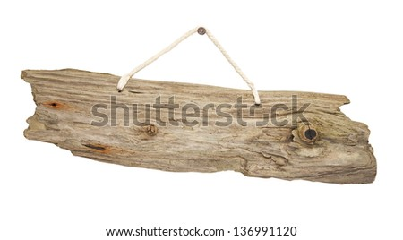 old grungy antique wooden plank of driftwood sign hanging on string great for notices - stock photo