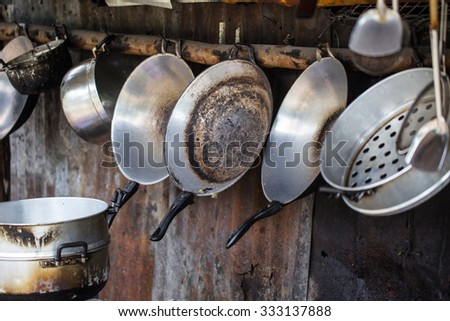 Old grungy dirty kitchen. - stock photo