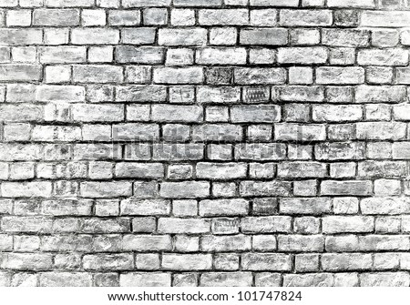 Old grungy gray brick wall texture - stock photo