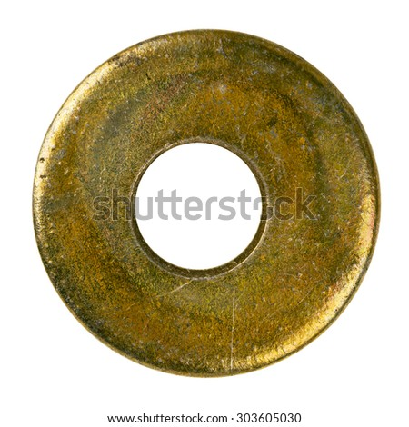 Old grungy metal washer isolated on white background - stock photo