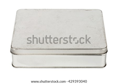 Old grungy metallic tin box isolated on white background - stock photo