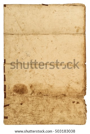 Old grungy paper sheet with edges on white background. Used paper texture
