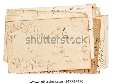 old grungy paper sheets isolated on white background - stock photo