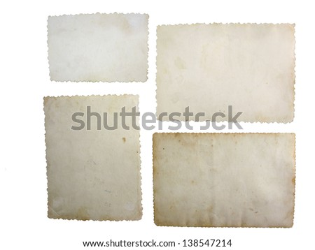 Old grungy photo paper isolated on white - stock photo