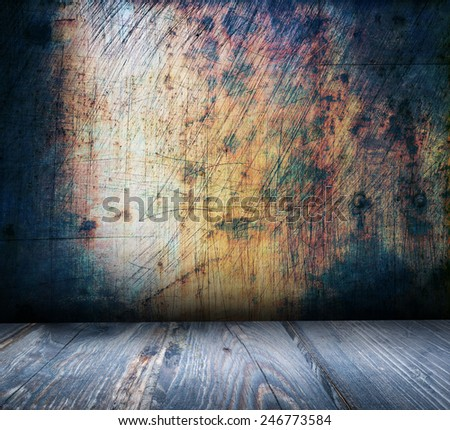 old grungy wall and wooden floor interior - stock photo