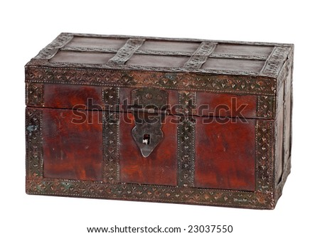 old grungy wooden treasure chest with rusty metal decoration