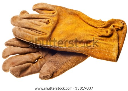 old grungy work gloves isolated on white background - stock photo