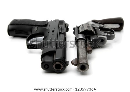 Old Gun and Modern Gun isolated on white background - stock photo