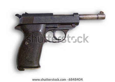 Old gun Walther Germany on white background - stock photo