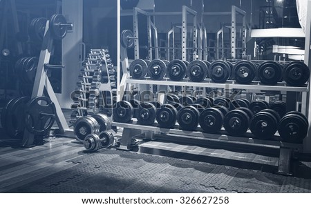 Old gym interior with equipment - stock photo