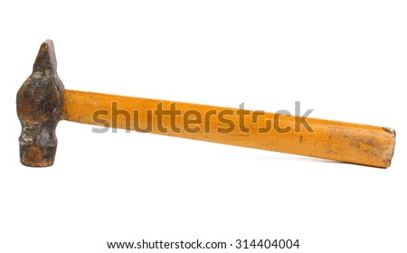Old hammer isolated on white - stock photo
