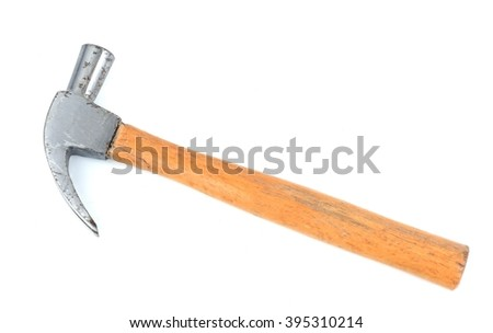 Old hammer isolated on white background.