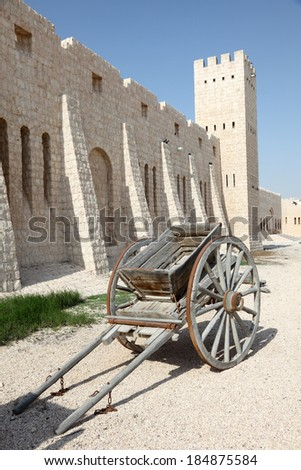 Old handcart at the Sheikh Faisal Museum in Qatar, Middle East - stock photo