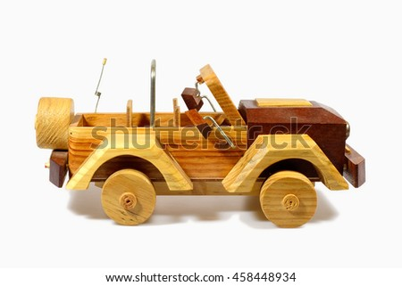 Old handcraft wooden toy car
