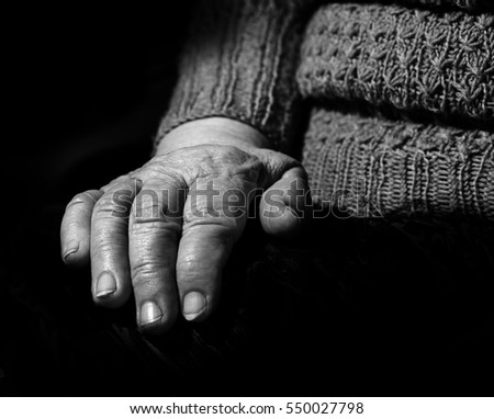 old hands, the aged woman close-up, portrait, black and white