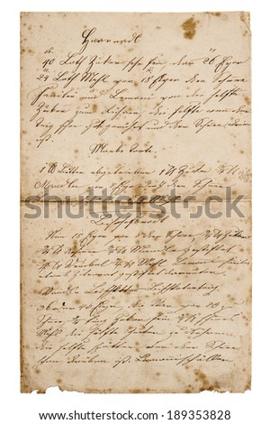 old handwritten recipe from ca. 1900. grunge vintage paper background - stock photo