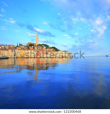 Old harbor and peaceful reflection at Rovinj, Croatia - stock photo