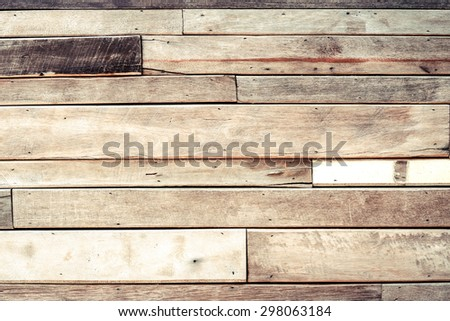 old hard wood plank wall for background and decoration - stock photo