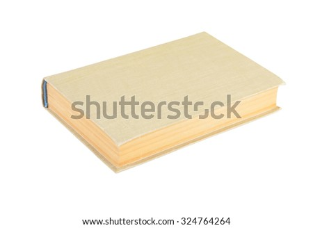 Old hardcover book, isolated on white background - stock photo