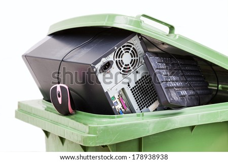 Old hardware put into container - stock photo