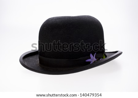old hat with flower - stock photo