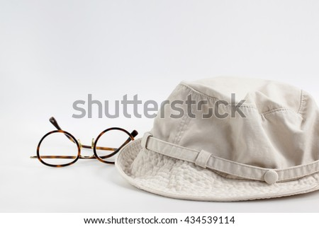 Old hats made of cloth on white background